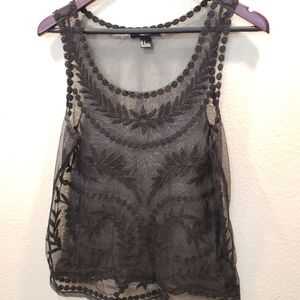 Forever 21 Black Lace Tank Top Sz S